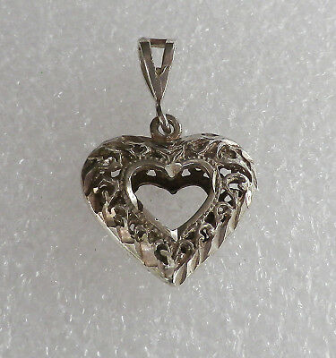 Vintage 925 Sterling Silver Filigree ETCHED PUFFY OPEN HEART PENDANT  3.2 grams