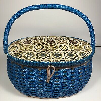 Vintage Singer Blue Wicker Sewing Basket Made in Japan Pink Inside