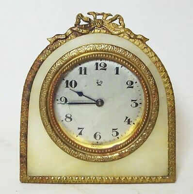 "Small 3 5/8"" Tall Old Antique ALABASTER w/ BRASS TRIM German CLOCK -RUNS-"