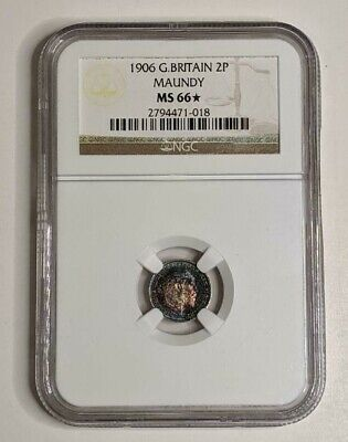 Great Britain Silver 1906 2 PENCE MAUNDY NGC MS66 STAR BEAUTIFUL MONSTER TONING