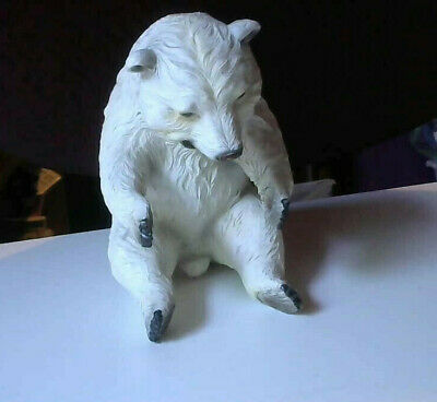 Large White Resin Polar Bear Bottle / Can Holder - Sits Up Or Lays Belly up