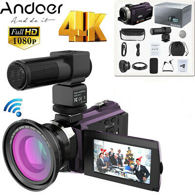 Andoer Digital Video Camera 4K 1080P 48MP WiFi Camcorder Recorder with Lens+ Mic