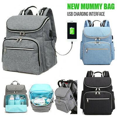 Mummy Nappy Diaper Bag Baby Travel Changing Nursing Large Backpack Waterproof AU