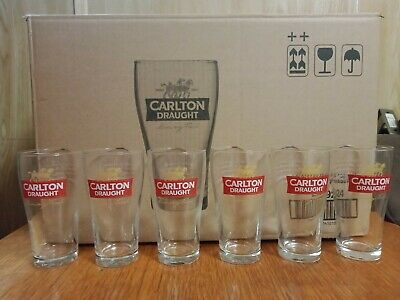 6 x 150 Years Anniversary. Carlton Draught Glasses. New Condition.