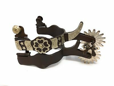 Western Mens Show Spurs Flower and Stars Concho Jingle Bobs Chap Guard Brown