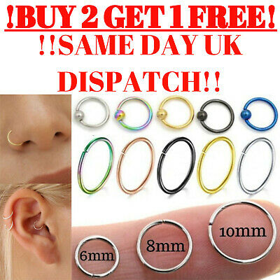 Nose Ring Hoop Ball Tragus Helix Cartilage Ear Lip Surgical Septum Piercing UK