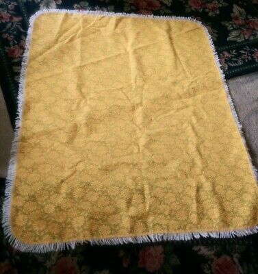 """Funky bright yellow retro vintage daisy flower 50x60"""" rubbery fabric tablecloth"""