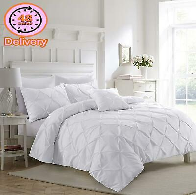 Fixtex White Pinch Pleat Pintuck Duvet Cover Set With Pillow Cases Includes Comp