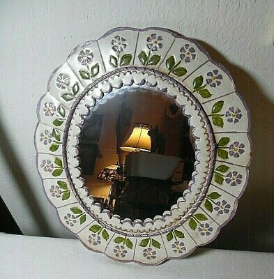 Hand Crafted And Hand Painted Wall Hung Tin Oval Mirror Made In Mexico