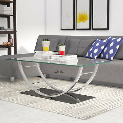 Modern Glass Coffee Table Chrome Mirrored Base Living Room Sofa Accent Furniture