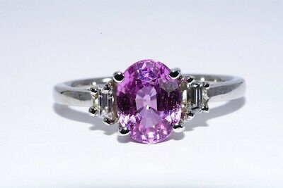 $5000 2.61Ct 3 Stone Agl Certified Natural Pink Sapphire & Diamond Ring 14K Gold