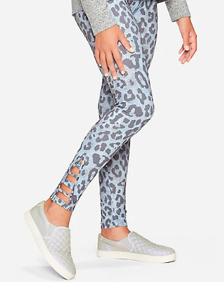 *New* Justice Girls Size 8 14/16 Blue Cheetah Pattern Strappy Leggings Pants