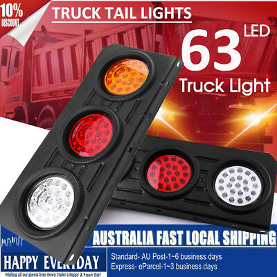 2 x 63 LED Ute Rear Trailer Tail Lights Caravan Truck Car Indicator Lamp 12V AUS