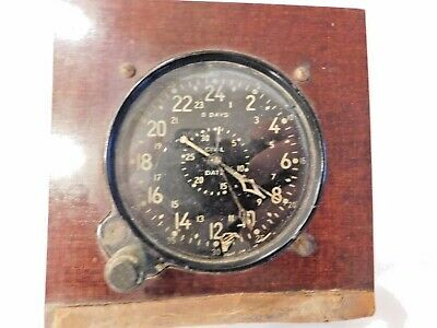 Vintage Waltham 8-Day US Military Aircraft Cockpit Clock WWII CDIA Navy Mounted