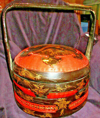 Vintage Oriental Asian Chinese Wedding Bridal Basket Lacquer 3 Tiers