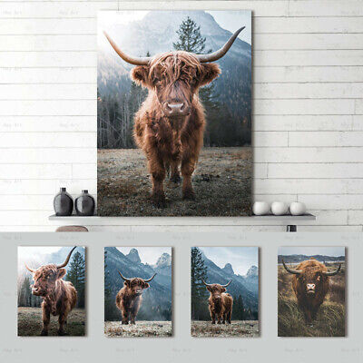 Highland Cow Brown Canvas Painting Poster and Print Wall Art Pictures Home Decor