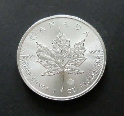 2014 FINE .9999 1oz SILVER CANADIAN MAPLE LEAF $5 BULLION COIN, LOT#R1