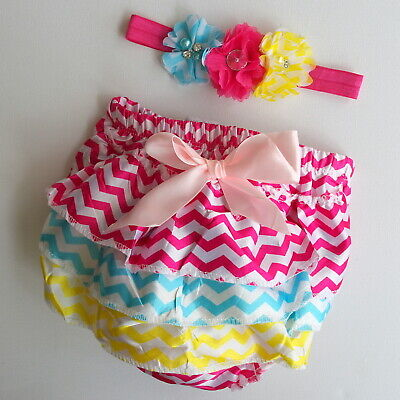 BABY BLOOMERS HEADBAND PANTS RUFFLE BUM NAPPY COVER CHEVRON 0-6mnth & 6-18mnth