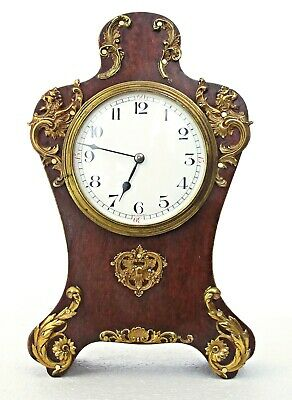 Antique Couaillet French Art Nouveau Mantel Clock, Brass Mounts Works Well 9.5""