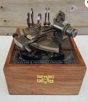 Vintage Nautical Antique Sextant Wooden Case Kelvin Hugs London 1917 Sextant