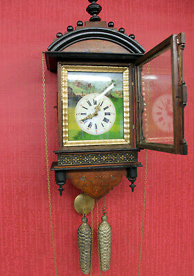 Antique Wall Clock 1800s Black Forest Cookoo Cuckoo Style Clock Hand Painted