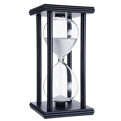 GracesDawn 60 Minutes Hourglass, Wood Sand Timer (White Sand,Black Frame,60min)