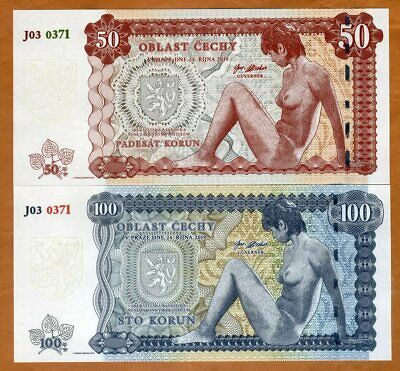 SET Bohemia 50;100 Korun 2019, Private Limited Issue, Nude Allegory Matching S/N