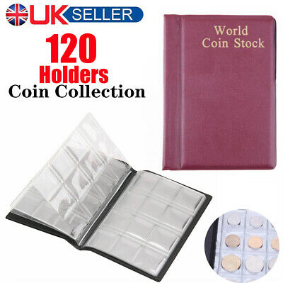 120 Coin Collection Folder Holder Storage Collecting Money Penny Album Book Case
