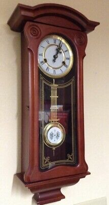 "Vintage Cherry Wood Glass Door Large 25"" Key Wind Wall Clock"