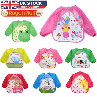 Baby Kids Bibs With Full Long Sleeve Baby Toddler Weaning Feeding Apron Smock UK