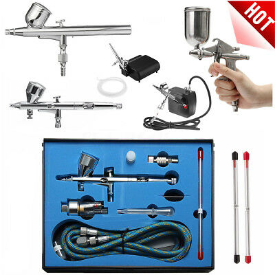 Dual Action Airbrush Compressor Kit Spray Air Brush Set Tattoo Nail    🔥