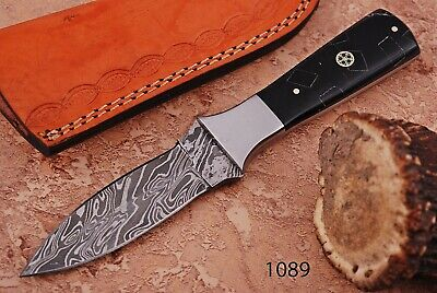 Hand Forged DAMASCUS STEEL Hunting Dagger Knife W/Horn & Steel BolSter Handle -