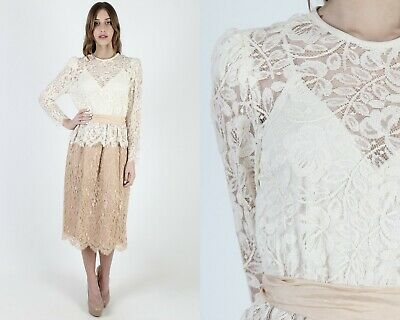 Vintage 80s Scallop Lace Dress Sheer Floral Ivory Boho Wedding Bridal Party Mini