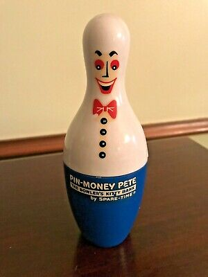 "Vintage ""PIN MONEY PETE"" Plastic Coin Bank by Spare – Time Bowlers Bank"