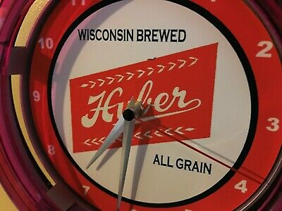 Huber Wisconsin Beer Bar Advertising Man Cave Neon Wall Clock Sign