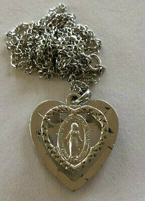Vintage Catholic Religious Holy Medal / STERLING / Miraculous Heart / PETITE
