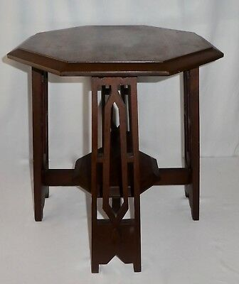 Antique Arts & Crafts 2-TIER,  8-SIDED WALNUT WOOD Occasional or Side Table.1900