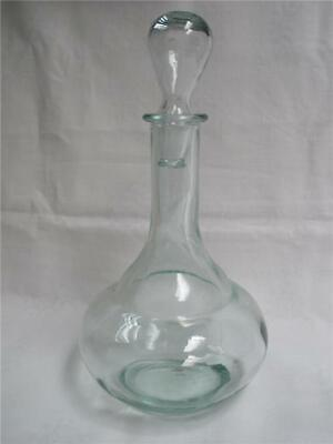 Light Green Glass  Round Decanter With Stopper