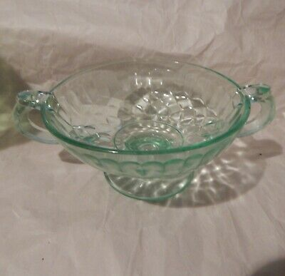 AUNT POLLY green depression  glass footed two handled candy or compote.