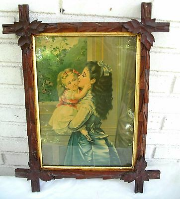 Outstanding Victorian Antique Print Two Young Sisters in Victorian Great Frame