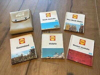 Vintage 70's Shell Road Map Set With Hickok Steer Leather Case Ex Con australia