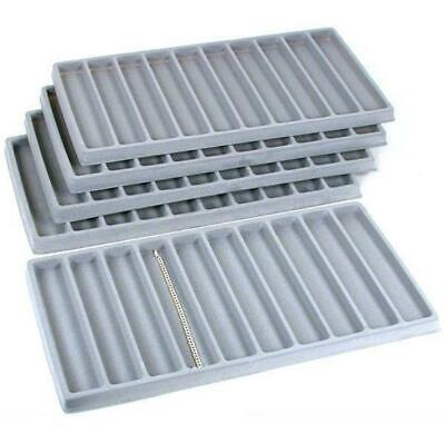 5 Gray 10 Compartment Bracelet Display Tray Inserts