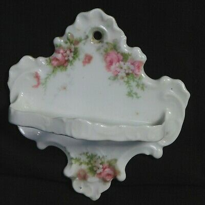 Antique Germany Porcelain Wall Mount Toothbrush Holder Roses Ornate Victorian