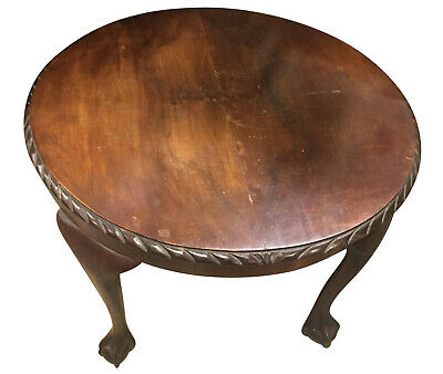 Charming Old Antique Mahogany Ball & Claw Foot Circular Low Coffee Table