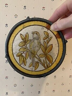 3x 6inches and a halve victorian stained glass panels 2x with birds 1x number