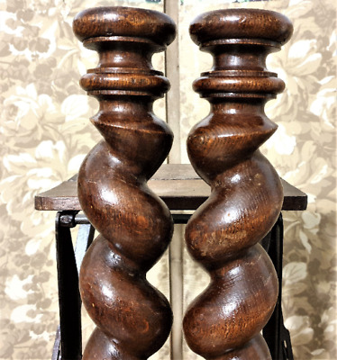 Barley twist turned spindle Column pair Antique french oak architectural salvage
