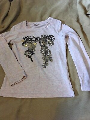 Next Girls  Pink Long Sleeve Bow Motif Top Size 5 Years Good Condition