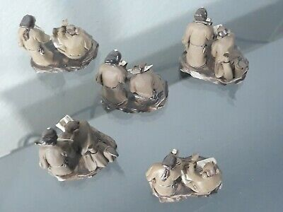 #ANTIQUE group of 9 CHINESE CARVED Miniature statue LOT FIGURE Pottery DOLL RARE