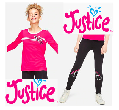 *New* Justice Girls Size 7 8 10 12 Black Rainbow Leggings Pants