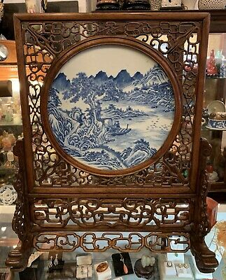 Chinese Antique 18th Century Porcelain Plaque Huanghuali Rose Wood Stand